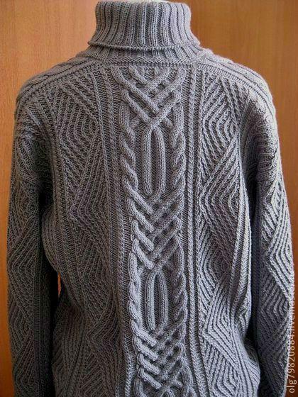 """Купить джемпер мужской теплый из шерсти """"Стильный серый"""" - вязание спицами, вязание на заказ"""