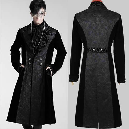 Designer Black Velvet Victorian Gothic Fashion Trench Coat Clothing