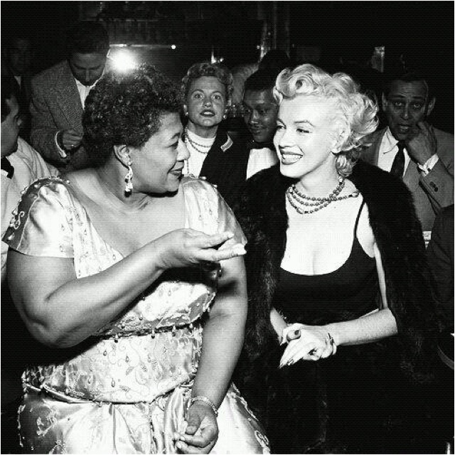 "In the 1950s, a popular nightclub, Mocambo would not book Ella Fitzgerald because she was black. Fortunately for Fitzgerald, she had a powerful and unlikely benefactor: Marilyn Monroe. ""I owe Marilyn Monroe a real debt…it was because of her that I played at the Mocambo, a very popular nightclub in the '50s. She personally called the owner of the Mocambo, and told him she wanted me booked immediately, and if he would do it, she promised she would take a front table every night. She told him - ...: Marilyn Monroe, Ella Fitzgerald, Marilynmonroe, Ellafitzgerald, Hollywood, Front Table, People, Photo, Owe Marilyn"
