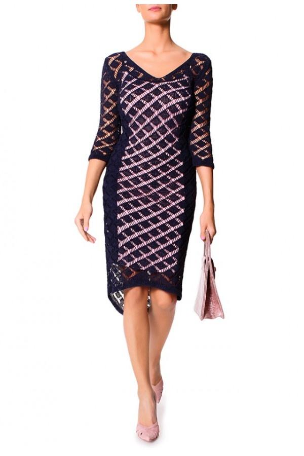 Modna Ażurowa Granatowo-Różowa Sukienka