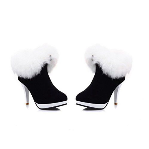 VogueZone009 Womens Closed Round Toe High Heel Platform Frosted Short Plush Solid Boots, Black, 10 B(M) US >>> Read more reviews of the product by visiting the link on the image.