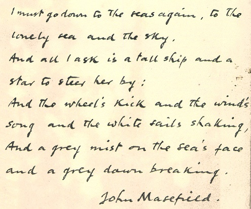 sea fever john masefield essay writer