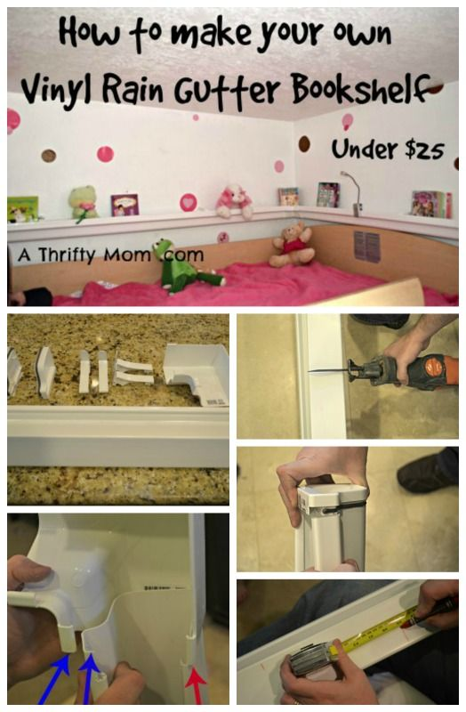 Great for Colton's room since he has a loft bed>>>>How to make a Rain Gutter Bookshelf