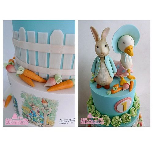 Jemima Puddleduck and Peter Rabbit on a cake.
