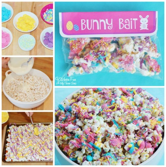 White Chocolate Popcorn Bunny Bait Bags...super cute class party idea with a Free Printable!