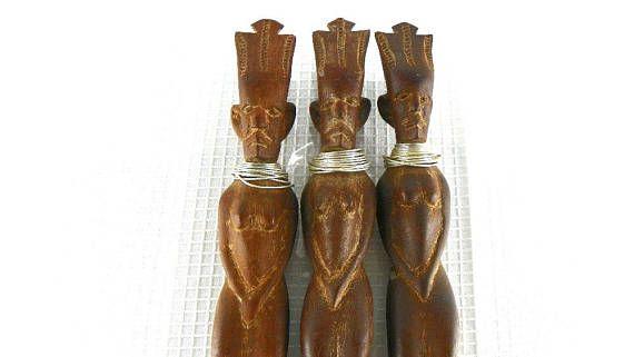 Vintage African Tribal Carved Wood Utensil Set Spoon Knife
