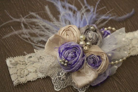 Lavender and Ivory Headband Flower Girl Baby by AldonasBoutique,