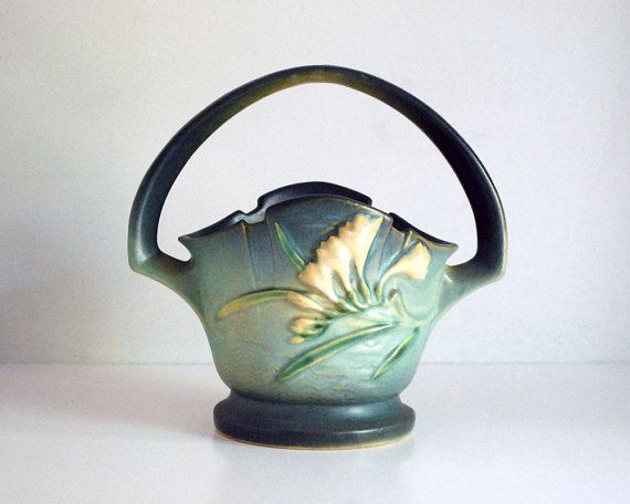 Roseville Freesia Vase American Art Pottery Green by CalloohCallay