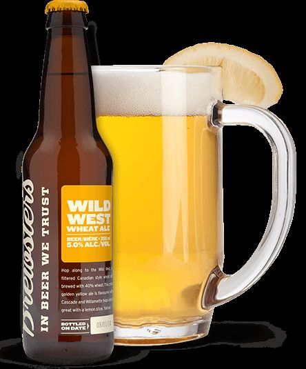 Brewsters Brewing Co. | Wild West Wheat Ale - Hop along to the Wild West, a filtered Canadian style wheat ale brewed with 40% wheat. This crisp golden yellow ale is flavoured with Cascade and Willamette hops and is great with a lemon slice. Yahoo!