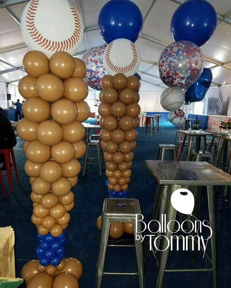 Large Brown And Blue Balloon Baseball Bat Columns