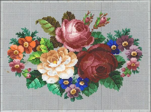 A Beautiful Berlin WoolWork Floral Bouquet Pattern