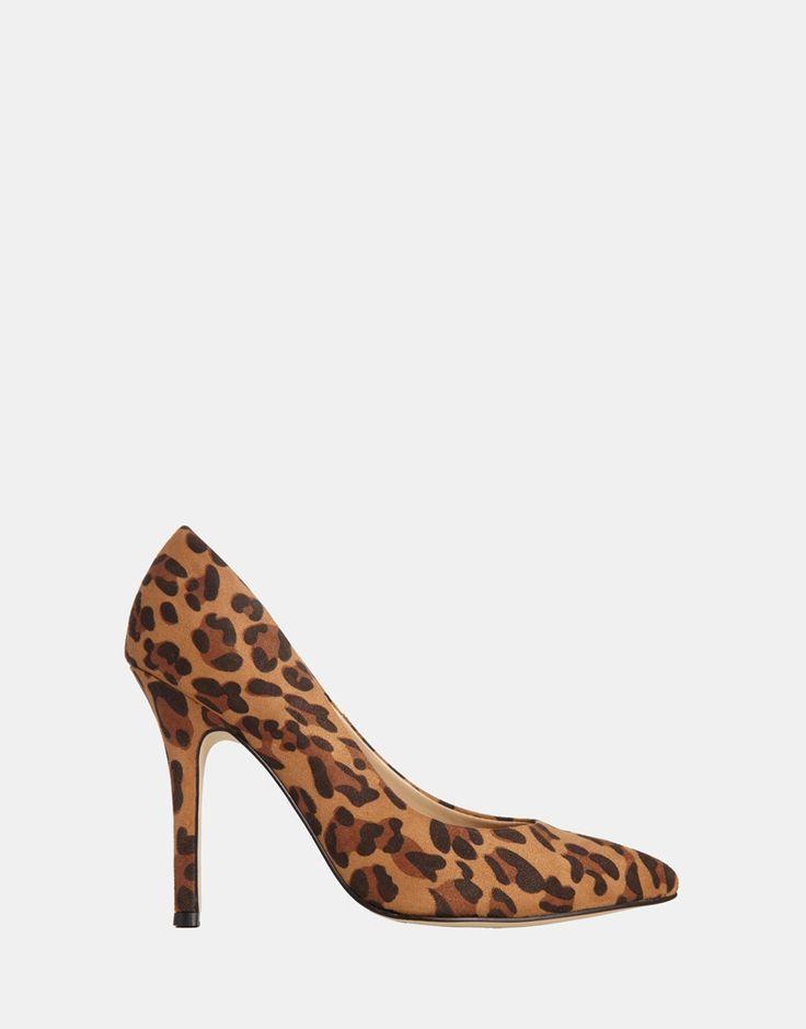 Schuhe von London Rebel Obermaterial aus bedrucktem Stoff tief ausgeschnittenes Schuhblatt spitze Zehenpartie Stiletto-Absatz