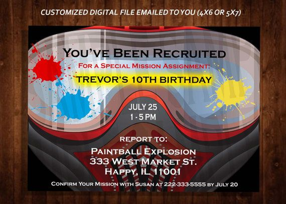 ***THIS IS A PRINTABLE DIGITAL FILE FOR DOWNLOAD ONLY. YOU WILL RECEIVE CUSTOMIZED HIGH RESOLUTION DIGITAL FILES TO PRINT YOUR OWN INVITATIONS***  Celebrate your special birthday party with a paintball themed invitation? It is great for a kid or teens birthday party at a paintball park or for a military combat themed home party. Or change the wording for an adult paintball get-together. WATERMARKS WILL NOT BE INCLUDED ON FINAL FILES. *************************** WHAT YOU WILL GET…