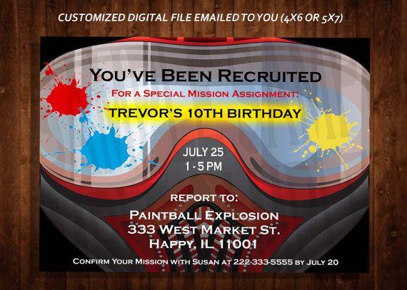 PAINTBALL Themed Birthday Party Invitation, Paintball Mask Invitation, Military Combat Themed Invitation, Custom Digital File, DIY Print
