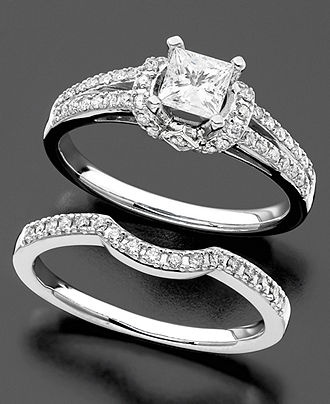 ShopStyle MacysEngagement Ring And Wedding Band White Gold Diamond Bridal Set Ct