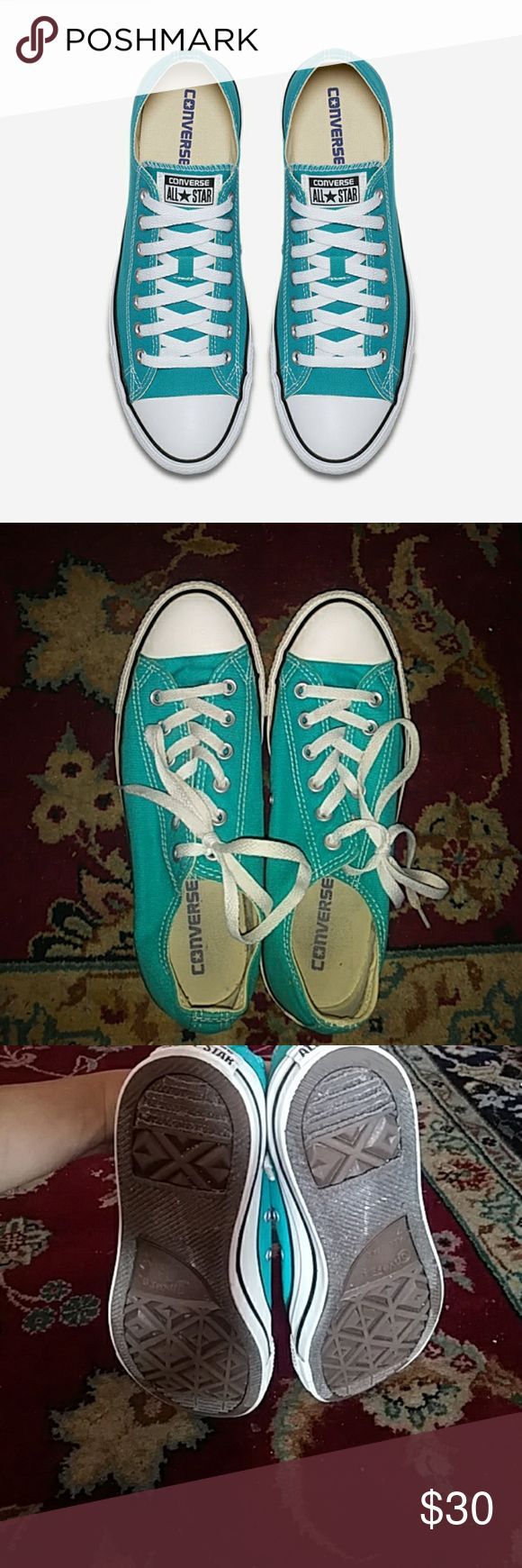 Teal Converse ! Bought from an amazing posher but sadly I realized im no longer 9. They are in perfect condition! Only use is inside and out as shown in pictures. Converse Shoes Sneakers