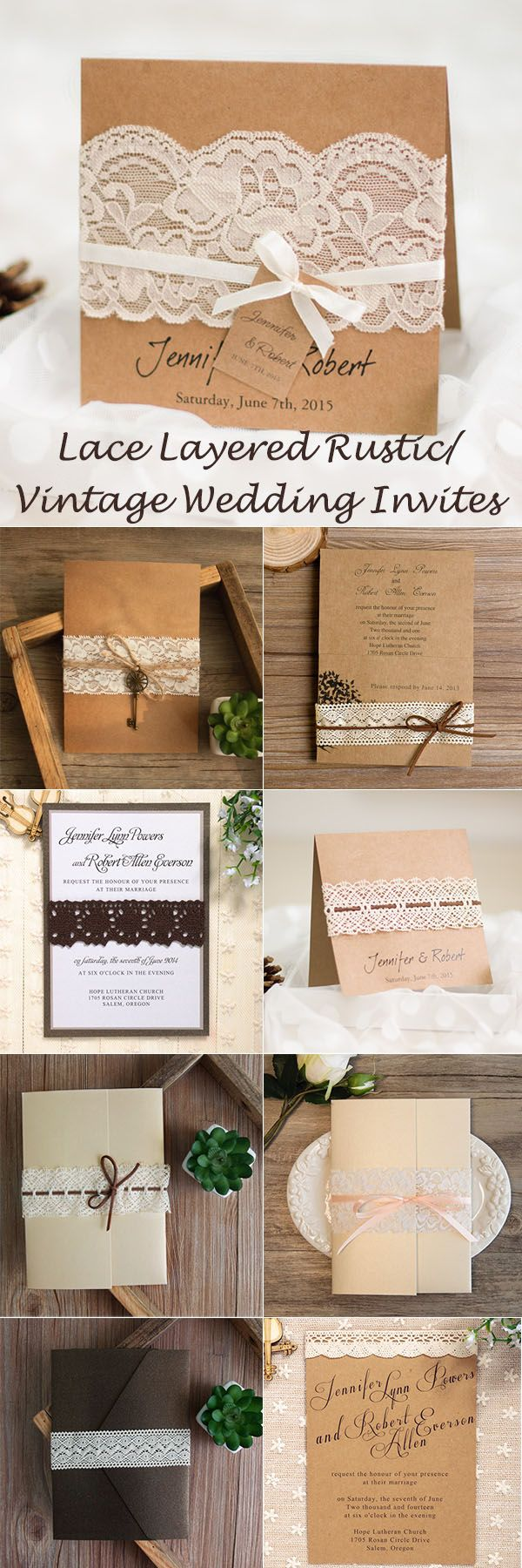 lace layered rustic and vintage wedding invitations