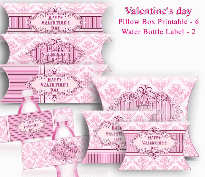 Valentine Pillow Boxes Printables   Valentine Water Bottle Label. DIY Pillow Box Set of 6 Printable, Digital Download File. by Design by Irene, $3.99 USD