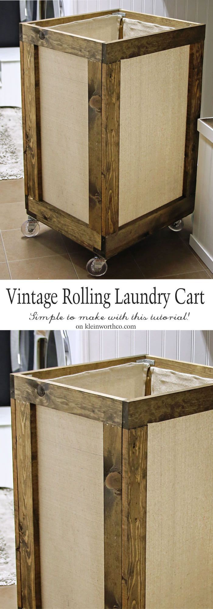 DIY Wood Working Projects: Vintage Rolling Laundry Cart