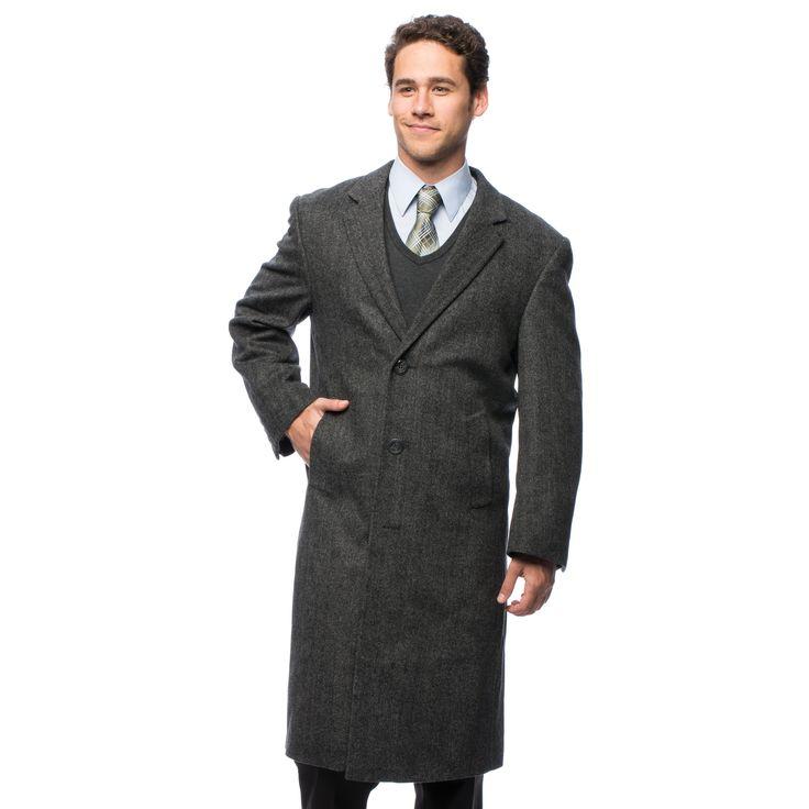 Pronto Moda Men's 'Harvard' Blend Long Top Coat