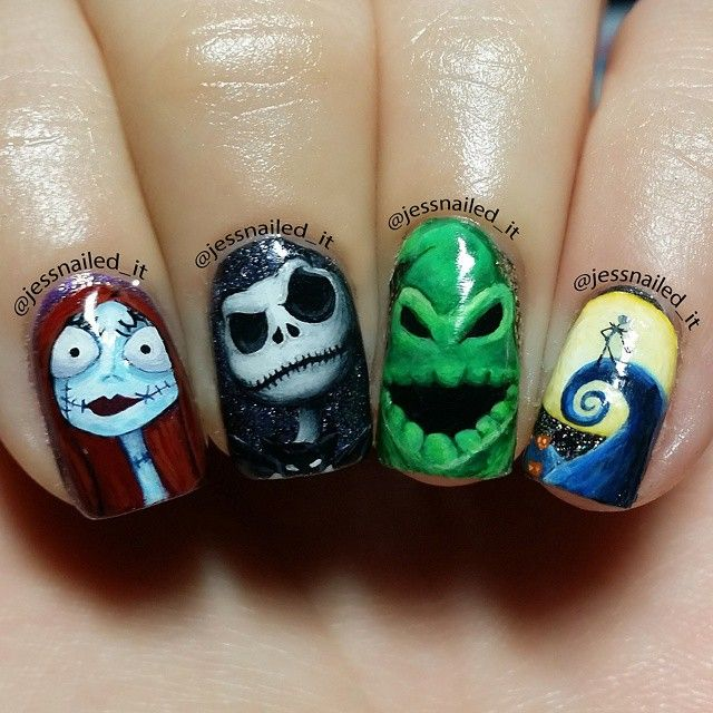 Instagram Post by ☆Jess☆ (@jessnailed_it)   nails   Halloween Nails, Nightmare  before christmas nails, Halloween nail art - Instagram Post By ☆Jess☆ (@jessnailed_it) Nails Halloween