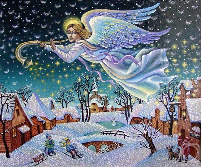 Днем рождения, красивые открытки с зимним пейзажем и ангелом хранителем