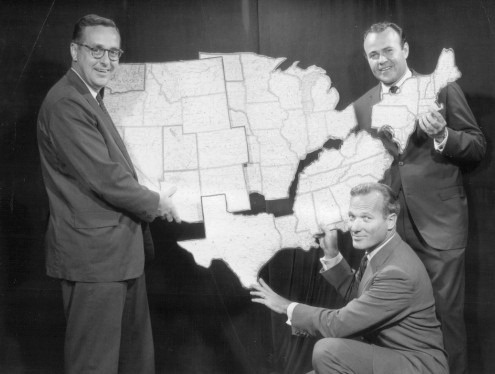Nbc News Correspondents Left To Right John Chancellor Frank Mcgee And Sander Vanocur With An Election Map Showing The Territories They Will Cover On