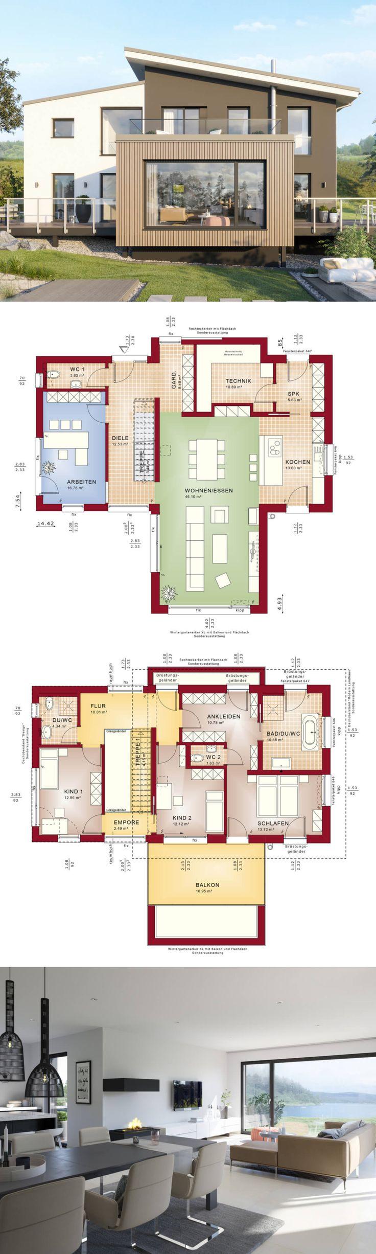 Maison individuelle moderne avec architecture de toit en terrasse, galerie et annexe de …