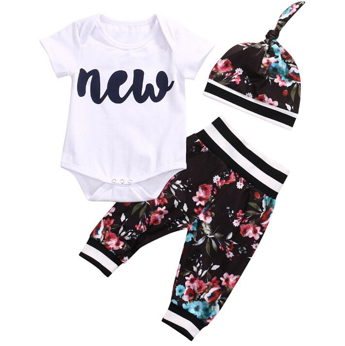 - Baby Girl - 3 Piece Outfit - Hat - Short Sleeve Bodysuit - Pants Free Shipping! Please allow 2-4 weeks for delivery.