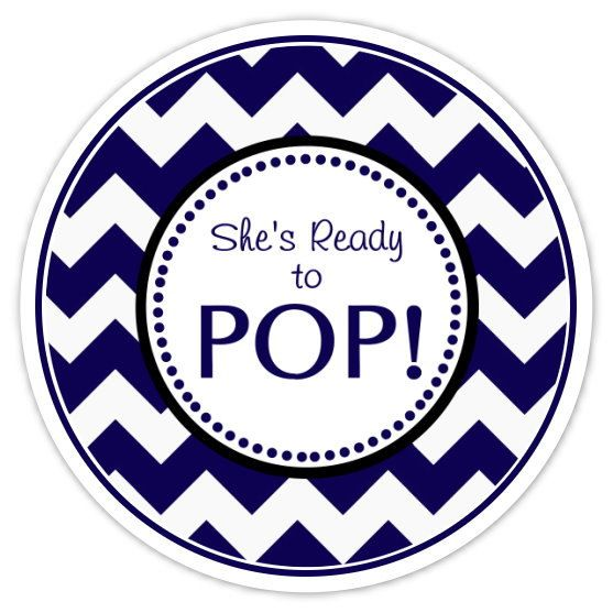 Baby Shower About to Pop labels, Navy Blue Chevron, About ...
