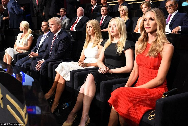 United: Other photos taken during the evening show Trump's family united, as they all sat together to support his quest for the White House. Pictured above left to right: Vanessa Trump, Eric Trump, Donald Trump, Ivanka Trump, Tiffany Trump and Lara Trump