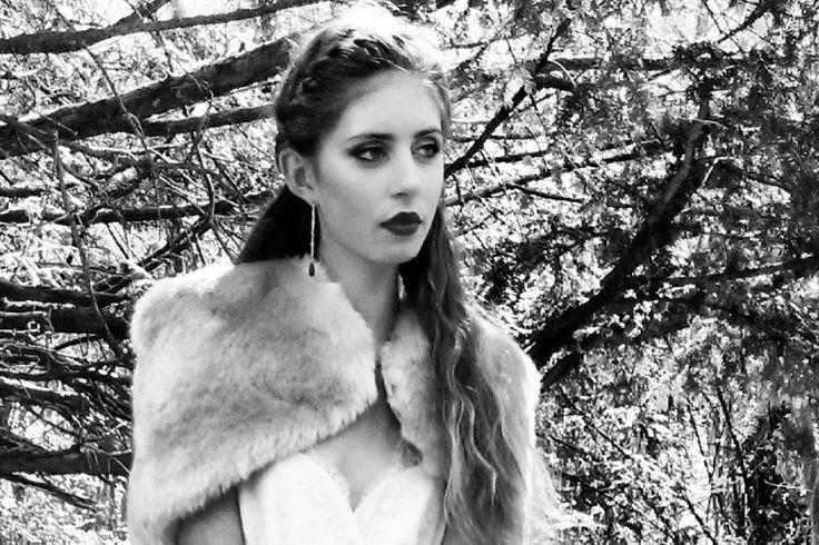 Winter bride. Laure de Sagazan Ruiz. Faux Fur Cape by Blanche in the Brambles - Floriana. Earrings by Diana Porter.
