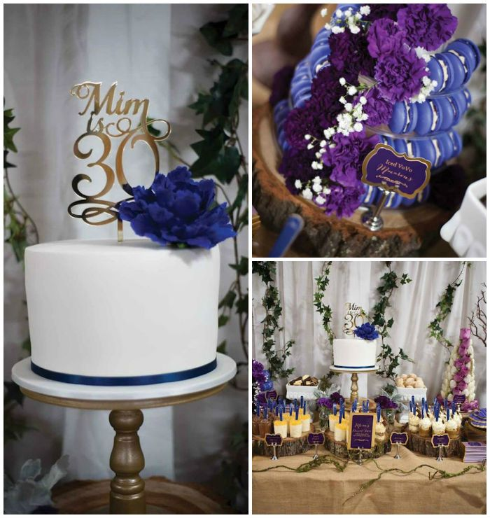 Rustic glam 30th birthday dessert table via kara 39 s party for 30th birthday decoration