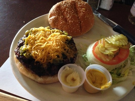 Monte Carlo Steak House - The Green Chile Cheddar Burger (also have a 14oz all pork shish kabob! lol) Albuquerque NM -feature on Diners, Drive Ins and Dives.