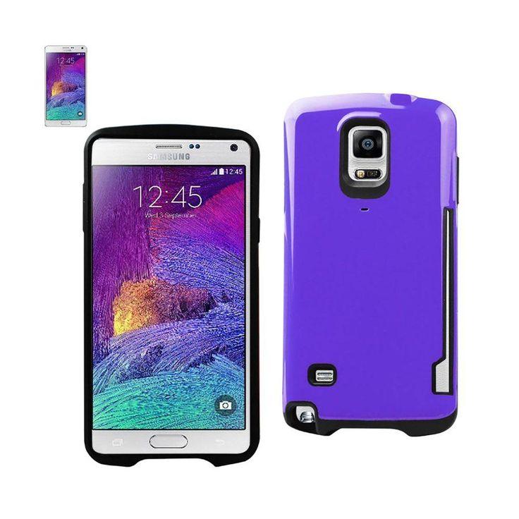 Reiko Dual Color Tpu+Pc Cover For Samsung Galaxy Note 4 N910V/ N910P/ N910T/ N910R4 Purple With Side Card Holder
