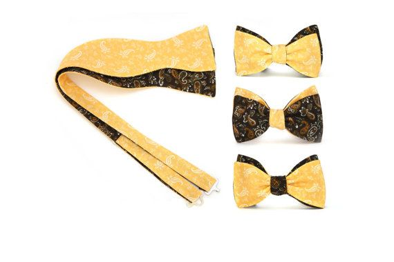 Yellow and brown paisley Mens bow tie Reversible Cotton