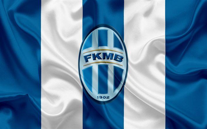 Descargar fondos de pantalla Mlada Boleslav, Club de Fútbol, el Mladá Boleslav, República checa, emblema, logotipo, azul, bandera de seda, República checa Campeonato de Fútbol