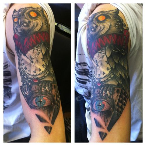 17 best Owl Half Sleeve Tattoo Sketches images on ... Owl Sleeve Tattoos For Men