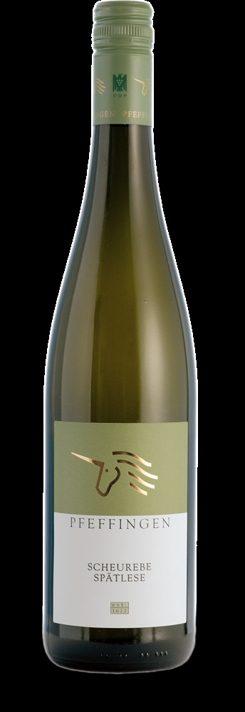 Pfeffingen Scheurebe Spätlese 2011. Sweet wine, with lychee and currant-flavours. Perfect to pair with a rich dessert.