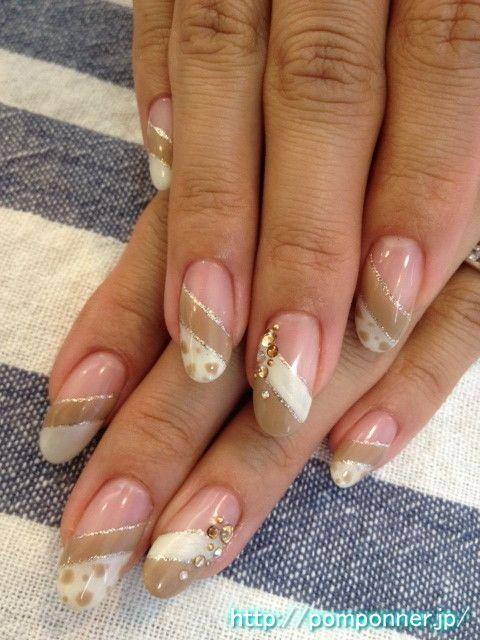 Double French nail diagonal pattern Dalmatian