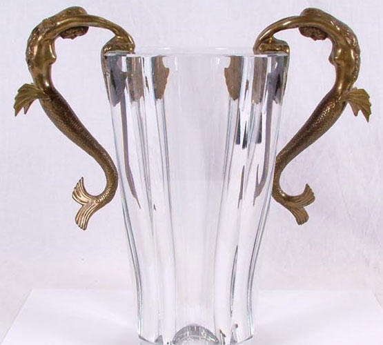 Erte romain de tirtoff sea maidens baccarat glass vase for Vase antique romain