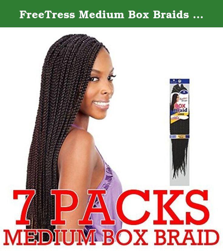 FreeTress Medium Box Braids Shake-N-Go Crochet Latch Hook Braiding Hair (pack of 7) (1B). Medium Box Braids. Crochet & Latch Hook Braid Made with Premium Fiber This hair does NOT come with Weft/Track.