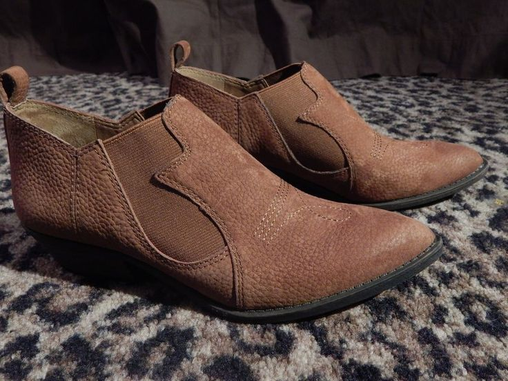 Lucky Brand Joelle Women Tan Leather Suede Cognac Ankle Boots Western 6 1/2 HOT #LuckyBrand #FashionAnkle