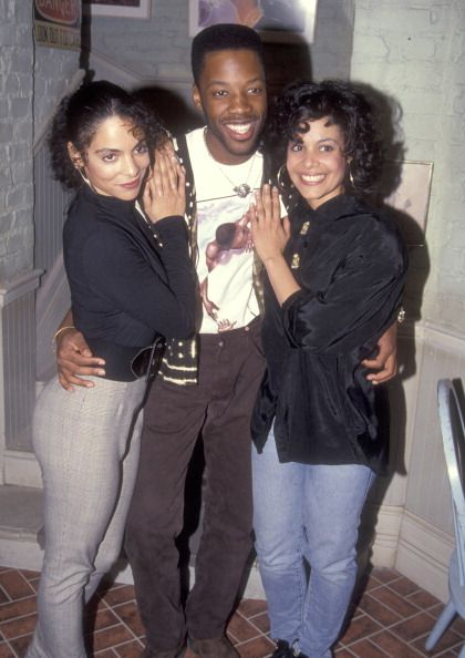 Actress Jasmine Guy actor Kadeem Hardison and Monica Guy pose for photographs on the set of A Different World on February 24 1992 at CBS/MTM Studios...