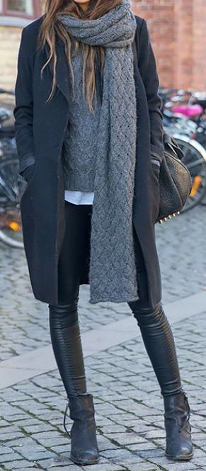 Winter style | Grey layers, leather pants and ankle boots