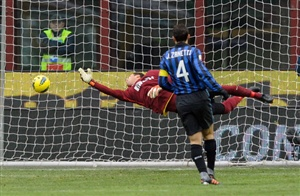 Andrea Caracciolo (not in the frame) of Novara Calcio scores the first goal during the Serie A match between FC Internazionale Milano and Novara Calcio at Stadio Giuseppe Meazza on February 12, 2012 in Milan, Italy