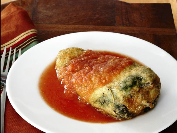 Chiles Rellenos  (stuffed chiles with cheese) from FoodNetwork.com recipe by Marcela Valladolid