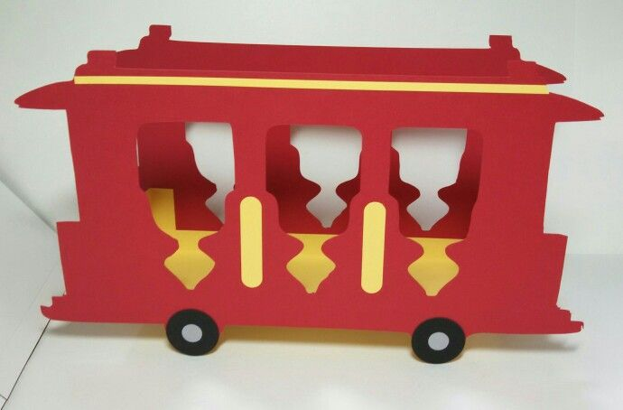Daniel Tiger's Neighborhood trolley that I cut with my Cricut Explore -- made these as centerpieces for my nephew's first birthday party. Made by Jeanie Tavitas-Williams. **Not available for sale.
