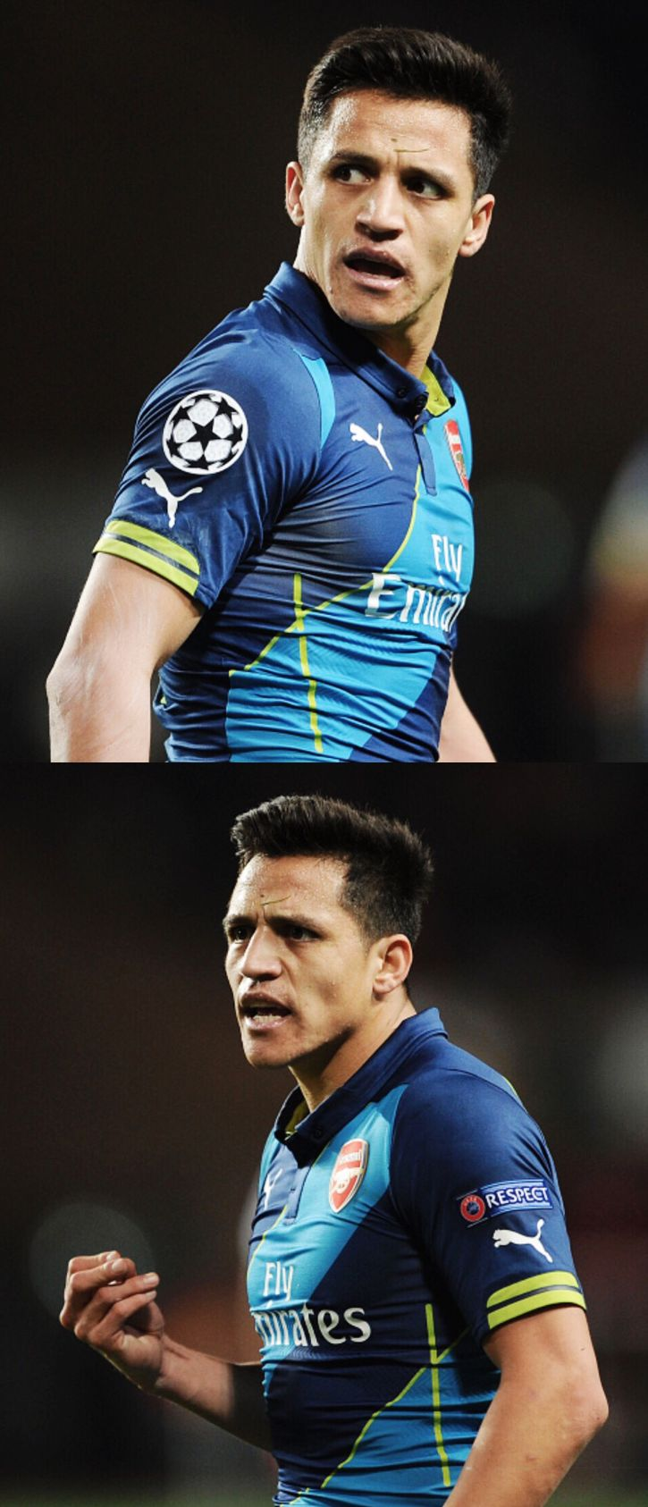 Alexis Sanchez. Even when he is mad he looks great.
