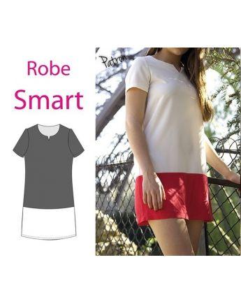 """Patron robe """"Smart"""" bi-colore -> A faire pour cet été :  - haut blanc (tissu STOP tissu) - Bas corail (tissu """"palettes de couleurs"""" de la droguerie) Pour l'hiver : haut avec tissu noir assez rigide ; bas en cuir/simili cuir"""